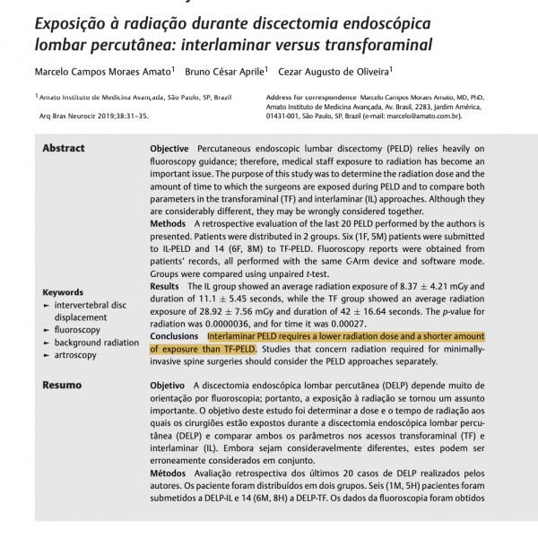 Publicação científica - cirurgia endoscópica da coluna